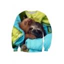 Color Block Digital Animal Printed Round Neck Long Sleeve Pullover Sweatshirt