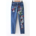 Fashion High Waist Embroidery Floral Pattern Straight Jeans