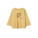 Lovely Lion Cartoon Letter Printed 3/4 Length Sleeve Split Sides T-Shirt