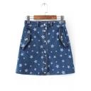 Cute Single Breasted Pentacle Printed Denim Mini Skirt with Slant Pockets
