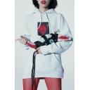 Unisex Drawstring Hooded Floral Printed Hoodie Sweatshirt with One Pocket