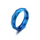 Unisex Simple Rhombus Shaped Plain Titanium Steel Ring
