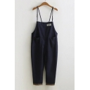 Solid Color Leisure Loose Basic Capri Overall Jumpsuits with Single Pocket