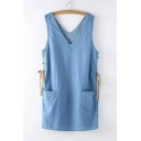 New Fashion V Neck Sleeveless Lace Up Side Denim Shift Dress with Double Pockets