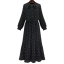 Fashion Polka Dot Tied Neck Long Sleeve Maxi Chiffon Pleated Dress