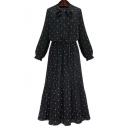 Fashion Polka Dot Tied Neck Long Sleeve Maxi Chiffon Pleated Dress