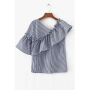 Asymmetric Ruffle Front Bell Short Sleeve Plaid Color Block Blouse