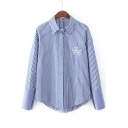 Striped Single Breasted Lapel Embroidery Letter High Low Hem Shirt