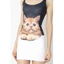 Digital Cat Printed Scoop Neck Sleeveless Mini Bodycon Tank Dress
