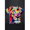 Color Block Lion Printed Round Neck Short Sleeve Graphic T-Shirt