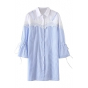 New Stylish Lace Patchwork Lapel Single Breasted Long Sleeve Striped Shirt Dress