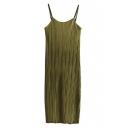 Simple Spaghetti Straps Sleeveless Plain Maxi Pleated Shift Dress