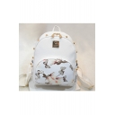 Rose Butterfly Printed Studded Sports Students' Waterproof Backpack