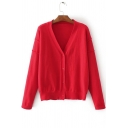 V Neck Long Sleeve Single Breasted Plain Fitted Knit Cardigan