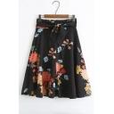 Chic Floral Printed Belt Waist Zip-Front Midi A-Line Skirt