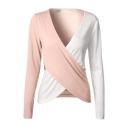 Color Block Wrap V Neck Long Sleeve Pullover Stylish T-Shirt