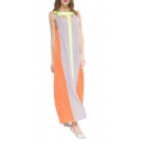 Sexy Cutout Front Sleeveless Color Block Maxi Swing Party Dress