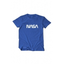 Unisex NASA Printed Short Sleeve Round Neck Off-Duty Tee