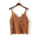 New Fashion V-Neck Spaghetti Straps Hollow Out Crochet Cami Top