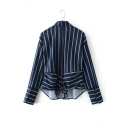 New Arrival Tied Back Vertical Striped High Low Hem Single Breasted Lapel Shirt