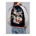 Women's Embroidery Floral Pattern Raglan Sleeve Color Block Zipper Placket Bomber Jacket