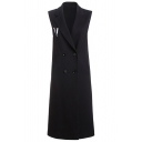 New Stylish Letter Embroidery Back Notched Lapel Double Breasted Sleeveless Tunic Vest