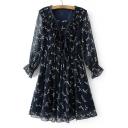 Chic V-Neck Long Sleeve Floral Printed Midi Chiffon Dress