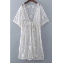 Women's See Through Lace Mesh Floral Pattern Drawstring Waist Tunic Top