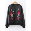 Embroidery Floral Pattern Zipper Placket Stand-Up Collar Bomber Jacket
