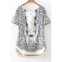 Fashion Round Neck Keyhole Back Short Sleeve Sequined Hem Printed Mini Dress