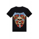 Punk Stylish Skull Floral Printed Short Sleeve Round Neck Street Tee