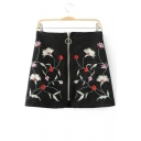 New Arrival Zipper Front Embroidery Floral Pattern Mini A-Line Skirt
