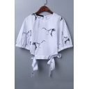 New Arrival Crane Printed Half Sleeve Tied Sides Cropped Blouse