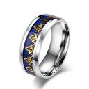 Unisex Color Block Titanium Steel Ring