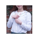 Peter-Pan Collar Long Sleeve Floral Embroidered Lace Inserted Buttons Down Shirt