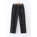 Contrast Stitching Zip Fly Raw Edge Wide Leg Straight Denim Trousers