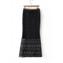 New Fashion Hollow Out Crochet Lace Patched Tiered Bodycon Midi Skirt