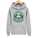 Star Wars Cartoon Printed Hooded Long Sleeve Hoodie Sweatshirt with a Kangaroo Pocket