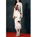 New Stylish Mesh Ruched Floral Appliqued Long Sleeve Midi Party Dress