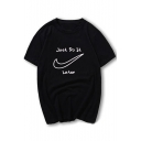 Round Neck Short Sleeve Letter Printed Leisure T-Shirt for Couple