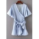 V Neck Short Sleeve Ruffle Hem Tie Waist Striped Printed Mini Wrap Dress