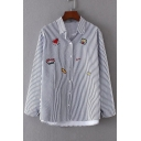 Vertical Striped Embroidery Pattern Long Sleeve Lapel Single Breasted Shirt