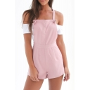 New Arrival Spaghetti Straps Cold Shoulder Short Sleeve Color Block Rompers
