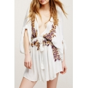 Floral Embroidered Plunge Neck Gathered Waist Peasant Mini Dress
