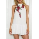 Floral Embroidered Round Neck Sleeveless Open Back Ruffle Hem Mini Dress