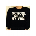 Street Style Round Neck Long Sleeve Letter Printed Pullover Cotton Sweatshirt