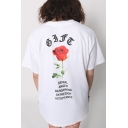 Summer Retro Floral Rose Letter Printed Round Neck Short Sleeve Oversize Loose Unisex Tee