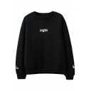 Unisex Day/Night Letter Embroidered Long Sleeve Round Neck Pullover Sweatshirt