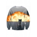 New Fashion Round Neck Long Sleeve Digital Fire Cat Printed Leisure Sweatshirt