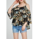 Sexy Cold Shoulder Spaghetti Straps 3/4 Length Sleeve  Floral Printed Blouse